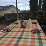 At the main Fattoria for our cheese tasting.