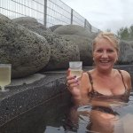 a lovely cold refreshment in the hot geothermal pool