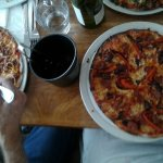 Pizzas and wine...