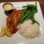 Blackened Grouper with Rice and Green Beans (sauce has andouille sausage)