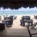 Outside seating--the blue Caribbean waters