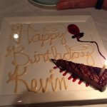 This was the dessert they brought me. VERY nice touch. Chocolate Cheesecake.