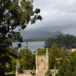 View from the lookout over the ruins of Port Arthur.