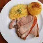 tender roast pork and tangy potato salad