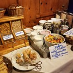 breakfast items - dry cereal, yogurts and pastries