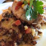 Redfish with crab cakes