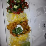 The cauliflower plate. Just so perfect. With basmati rice and chick peas and salad and dips.