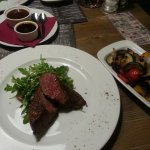 medium diamond muscle steak with grilled vegtable and demi-glace sauce