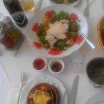 Moussaka, Pomegranate Salad and Dolmadakia