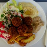 Falafel with potatoes and dips