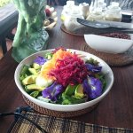 A colourful salad comes with every meal