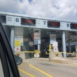 Passing through customs after coming through the tunnel