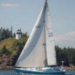 Sloop Anjacaa by Owls Head Lighthouse