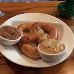 Return visit and the food and atmosphere are still great. Cold beer, pretzel with two mustard, t