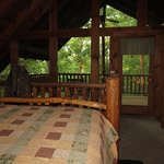 Mountain Laurel cabin--upper deck off the bedroom in the loft, all glass wall onto deck