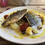 Sea Bass with mashed potato, olives & tomatoes