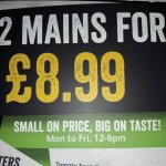 2 mains meals for £8.99 (Mon - Fri 12pm to 6pm)