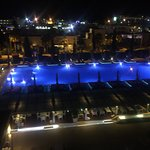This is the Pool area at night
