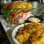 C&B Club on a Pretzel Bun with Mac & Cheese