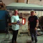 With the finished tumbler by the furnace.