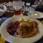 Wiener Schnitzel, spaetzle and red cabbage