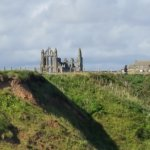View of Whitby Abbey from Whitby Holiday Park using telephoto lense