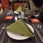 table setting at the resort restaurant