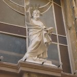 Statue of St Paul over the entrance