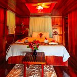Overwater Cabana with hardwood ceiling in bedroom area for optimal a/c