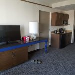 Corner king suite on 14th floor with separate living and sleeping areas