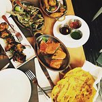 Chicken Mustard Kabob, fried Bhindi, Corn Bread, Paneer & Fish