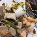 champignons, calamars, crevettes