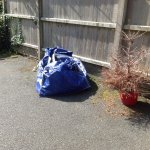 Old xmas tree and builders bag in path