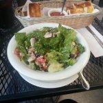 House salad and garlic bread