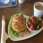 Asagio sandwich special with salad and coffee. Yum!
