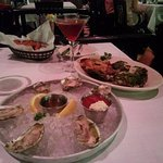 Appetizers Stone Point Oysters on half shell, Oysters Rockefeller, collards