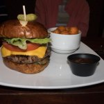 Charbar Co: Hamburger, American cheese, tomato, lettuce, grilled veggies and sweet potato tots