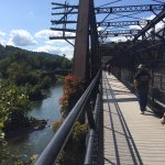 foot bridge over railroad tracks