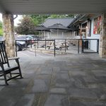 The main entrance, front patio, and outside dining area.