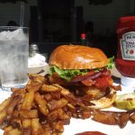 My entree: Grilled Bacon Beef Burger with Fries