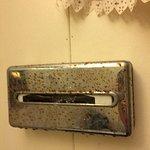 rusted kleenx box holder