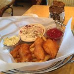 The Fish & Chips, Cole Slaw, French Fries, Tartar Sauce, Ketchup & the Dark rye bread with butte