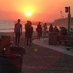 Sunset along the boardwalk in Laguna Beach