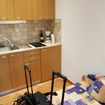 Kitchenette in smaller apt. (and our luggage)