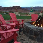 One of the firepits and view of the red cliffs.