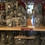 Antique chocolate molds on display