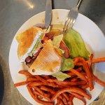 Pineapple ham, cheese teriyaki burger and sweet potato fries