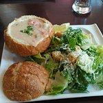Seafood Chowder Bowl, Caesar Salad combo, with Manhattan upper left.