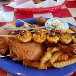 Grilled shrimp and stuffed fried crab