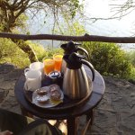 Tea and juice served at the tent before breakfast